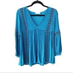 Altar'd State | blue crochet boho style top